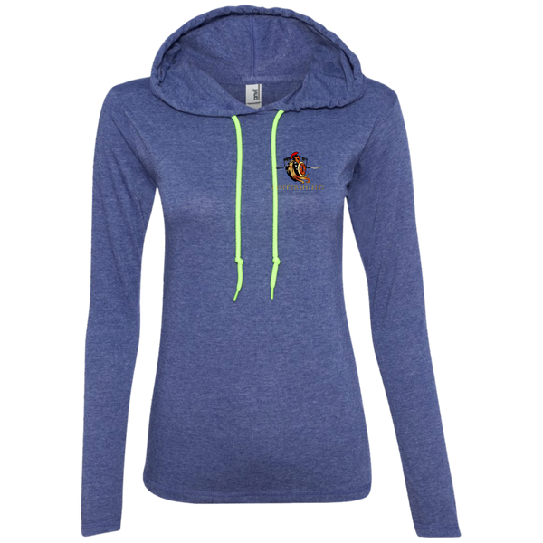 Coppershield 887L Anvil Ladies' LS T-Shirt Hoodie T-Shirts CustomCat Heather Blue/Neon Yellow S
