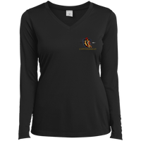 Coppershield LST353LS Sport-Tek Ladies' LS Performance V-Neck T-Shirt T-Shirts CustomCat Black X-Small