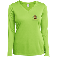 Coppershield LST353LS Sport-Tek Ladies' LS Performance V-Neck T-Shirt T-Shirts CustomCat Lime Shock X-Small