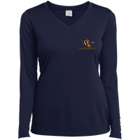 Coppershield LST353LS Sport-Tek Ladies' LS Performance V-Neck T-Shirt T-Shirts CustomCat True Navy X-Small