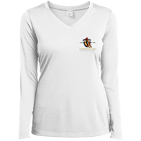 Coppershield LST353LS Sport-Tek Ladies' LS Performance V-Neck T-Shirt T-Shirts CustomCat White X-Small