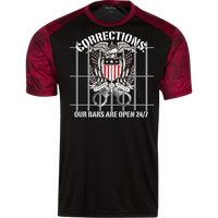 Corrections Thin Grey Line Open Bars Atheltic Shirt T-Shirts Black/Deep Red X-Small