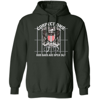 Corrections Thin Grey Line Open Bars Hoodie Sweatshirts Forest Green S