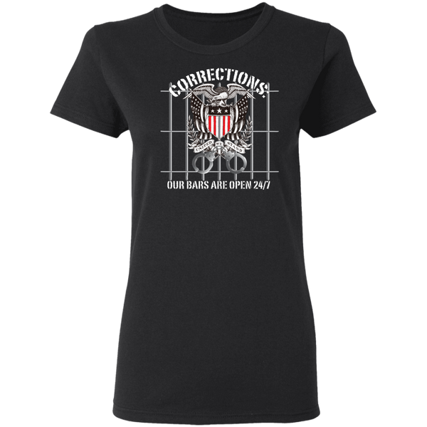 Corrections Thin Grey Line Open Bars T-Shirt T-Shirts Black S