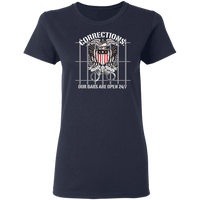 Corrections Thin Grey Line Open Bars T-Shirt T-Shirts Navy S