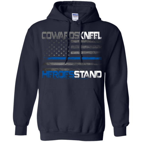Cowards Kneel Hoodie Sweatshirts CustomCat Navy Small
