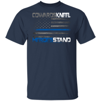Cowards Kneel Thin Blue Line Shirt T-Shirts Navy S