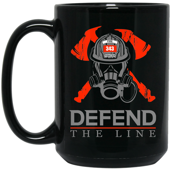 Defend the Line Firefighter Mask Thin Red Line Coffee Mug Drinkware Black One Size