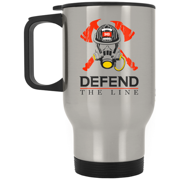 Defend the Line Firefighter Mask Thin Red Line Travel Mug Drinkware Silver One Size