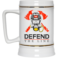 Defend The Line Firefighter Thin Red Line Beer Stein Drinkware White One Size