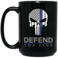 Defend the Line Punisher Mask Thin Blue Line Coffee Mug (White or Black) Drinkware Black One Size