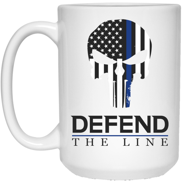Defend the Line Punisher Mask Thin Blue Line Coffee Mug (White or Black) Drinkware White One Size