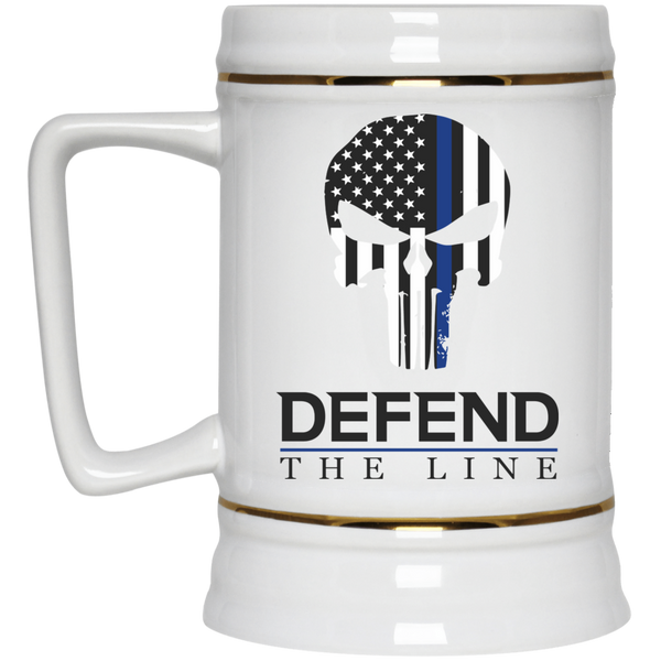 Defend The Line Punisher Thin Blue Line Beer Stein Drinkware White One Size