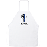 Defend The Line Punisher Thin Blue Line Grilling Apron Work Apparel White One Size