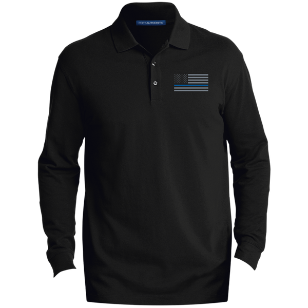 Delta Ops Long-Sleeve Thin Blue Line Polo Polo Shirts CustomCat Black X-Small