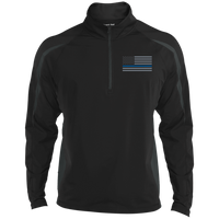 Delta Ops Thin Blue Line Half Zip Sport Wick Apparel CustomCat ST851 Sport-Tek Men's Sport Wicking Colorblock 1/2 Zip Black/Charcoal Grey X-Small