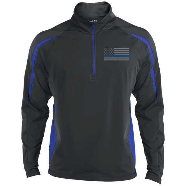 Delta Ops Thin Blue Line Half Zip Sport Wick Apparel CustomCat ST851 Sport-Tek Men's Sport Wicking Colorblock 1/2 Zip Charcoal/True Royal X-Small
