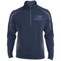 Delta Ops Thin Blue Line Half Zip Sport Wick Apparel CustomCat ST851 Sport-Tek Men's Sport Wicking Colorblock 1/2 Zip True Navy/Charcoal Grey X-Small