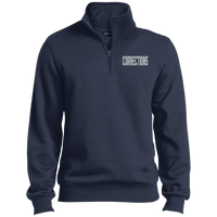 Embroidered Corrections 1/4 Zip PErformance Pullover Sweatshirts CustomCat True Navy X-Small