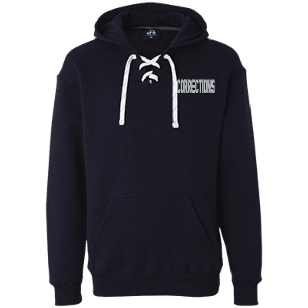 Embroidered Corrections Heavyweight Pullover Hoodie Sweatshirts CustomCat Navy X-Small