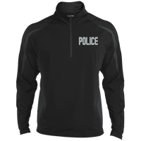 Embroidered Police 1/2 Zip Performance Pullover Jackets CustomCat Black/Charcoal Grey X-Small