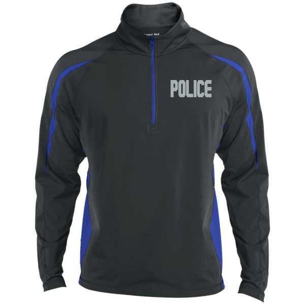 Embroidered Police 1/2 Zip Performance Pullover Jackets CustomCat Charcoal/True Royal X-Small
