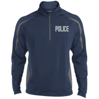 Embroidered Police 1/2 Zip Performance Pullover Jackets CustomCat True Navy/Charcoal Grey X-Small