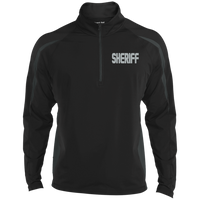 Embroidered Sheriff 1/2 Zip Performance Pullover Jackets CustomCat Black/Charcoal Grey X-Small