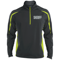 Embroidered Sheriff 1/2 Zip Performance Pullover Jackets CustomCat Charcoal Grey/Charge Green X-Small