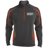 Embroidered Sheriff 1/2 Zip Performance Pullover Jackets CustomCat Charcoal Grey/Deep Orange X-Small