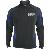 Embroidered Sheriff 1/2 Zip Performance Pullover Jackets CustomCat Charcoal/True Royal X-Small