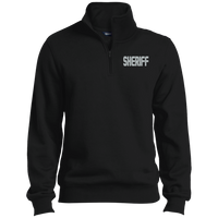 Embroidered Sheriff 1/4 Zip Pullover Sweatshirts CustomCat Black X-Small