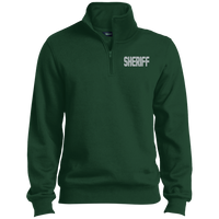 Embroidered Sheriff 1/4 Zip Pullover Sweatshirts CustomCat Forest X-Small