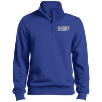 Embroidered Sheriff 1/4 Zip Pullover Sweatshirts CustomCat True Royal X-Small