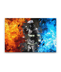 Fire & Ice Firefighter Canvas Decor ViralStyle Premium OS Canvas - Landscape 48x32*