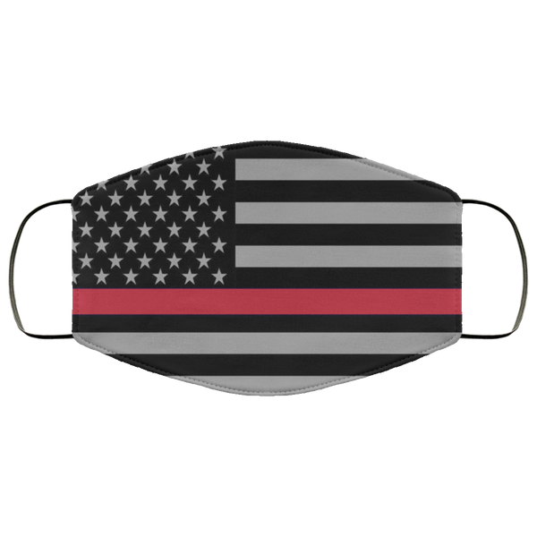 Firefighter Thin Red Line Flag Face Cover Accessories White One Size