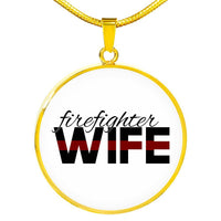 Firefighter Wife Engravable Necklace - Silver or Gold Jewelry ShineOn Fulfillment Luxury Necklace (Gold) No