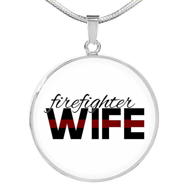 Firefighter Wife Engravable Necklace - Silver or Gold Jewelry ShineOn Fulfillment Luxury Necklace (Silver) No