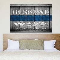 Husband and Wife Thin Blue Line Canvas Decor ViralStyle