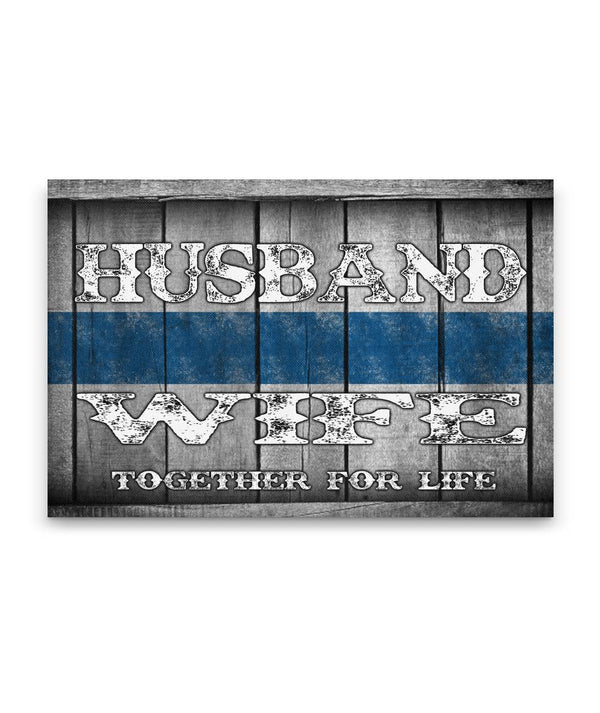 Husband and Wife Thin Blue Line Canvas Decor ViralStyle Premium OS Canvas - Landscape 18x12*
