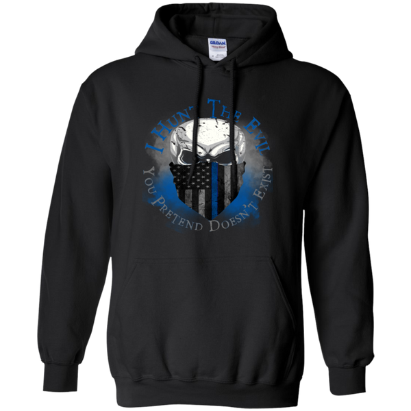 I Hunt The Evil Thin Blue Line Hoodie Sweatshirts CustomCat Black Small