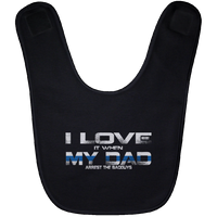 I Love My Dad Thin Blue Line Baby Bib Accessories Black One Size