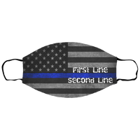 Kids Personalized Tattered Thin Blue Line Face Cover Accessories White One Size