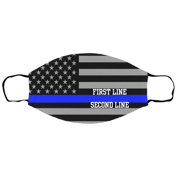Kids Personalized Thin Blue Line Face Cover Accessories White One Size