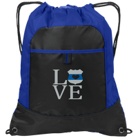 LEO Love Embroidered Cinch Pack Bags Black/Hyper Blue One Size