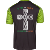 Men's Double Sided Irish by Blood Firefighter Athletic Shirt T-Shirts