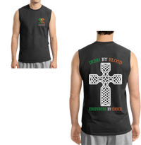 Men's Double Sided Irish by Blood Firefighter Sleeveless T-Shirt T-Shirts