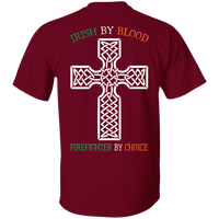 Men's Double Sided Irish by Blood Firefighter T-Shirt T-Shirts