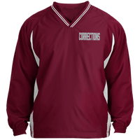 Men's Embroidered Corrections Pullover Windshirt Jackets Maroon/White X-Small