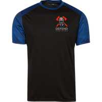 Proto ST371 Sport-Tek CamoHex Colorblock T-Shirt T-Shirts CustomCat Black/True Royal X-Small